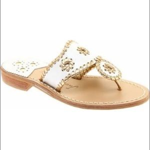 Jack Rogers Nantucket gold and white sandal
